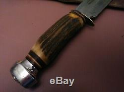 Vintage XL Hefty Solingen Germany bowie knife hunting Stag Bone old combat /case