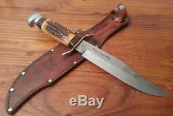Vintage XL Solingen Germany Bowie knife Stag bone fighting hunting skinner /case