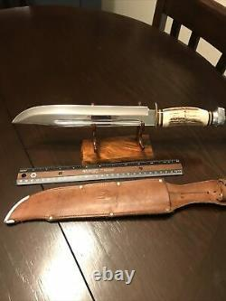 Vintage York Solingen Stag Handle 15 Hunting Knife With 10 Blade And Sheath