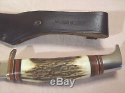 VintageLINDERSCOUTGERMAN SOLINGEN INOX HANDMADE HUNTING KNIFE withORIG. SHEATH