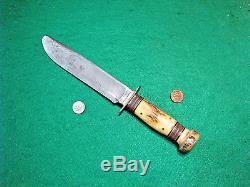 Vtg 1921 Sheath Hunt Blade US MARBLES Stg Stg 4 Pin Knife ORIG Leather Fold Case