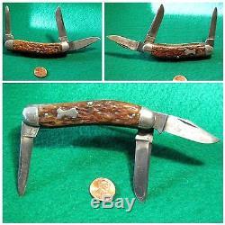 Vtg Hunt 5 Blades USA Old Made REMINGTON SOWBELLY Knife #1 BONE HUMPBACK Case