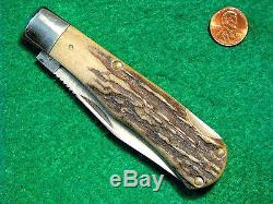 Vtg Pocket Blade Hunt USA OLD BULLWHIPCUTCOTRAPPERKnife 1 Rare STAG Case Puma