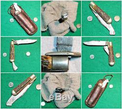 Vtg Sheath 1914 Pocket Blade MARBLES Safety Hunting Knife Orig Leather Fold case