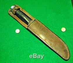 Vtg Sheath Hunt 8 Blade USA MARBLES Ideal WW1 Knife Alum Pommel #1 Leather Case