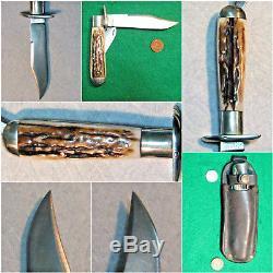 Vtg Sheath Pocket Blade MARBLES Safety Hunting Knife 1 Orig Leather Fold case