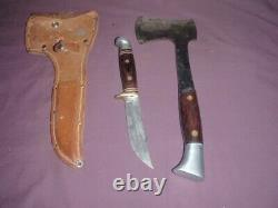 Vtg Western USA Hunting Knife & Hatchet W10 W66 D Combo Set w Sheath/ to restore