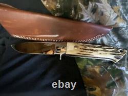 W. C. DAVIS STAG DROP POINT HUNTER KNIFE-LOVELESS DESIGN with SHEATH