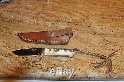 W C Davis Bob Loveless Clone Custom Made Stag Handled Tapered Tang Hunting Knife