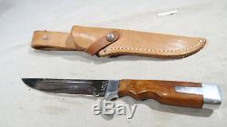 W Olsen OK #706 Hunting Knife w Leather Sheath Fixed Blade
