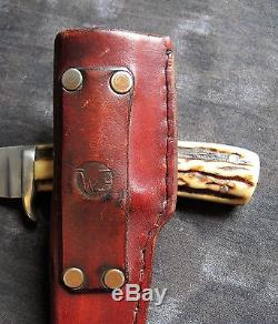 Wayne Goddard Custom-Made Hunting Knife withStag & Sheath, USA