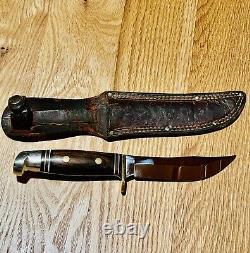 Western USA W36 Knife & Sheath Beautiful Original Vintage Rosewood Collectible