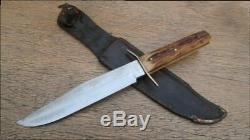 XL Vintage SVOBODA Solingen Germany Bowie Fighting Knife withStag RAZOR SHARP